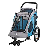 Aosom Dog Bike Trailer 2-in-1 Pet Stroller Cart Bicycle Wagon Cargo Carrier Attachment for Travel with 360 Swivel Wheel Reflectors Parking Brake Straps Cup Holder Blue