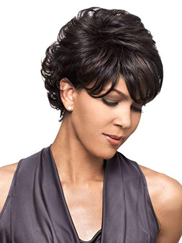 Bianca Wig Color FS1B/30 - Foxy Lady Wigs Short Pixie Wavy Textured Layers Synthetic Wispy Bangs African American Women's Machine Wefted Lightweight Average Cap Bundle MaxWigs Hairloss Booklet