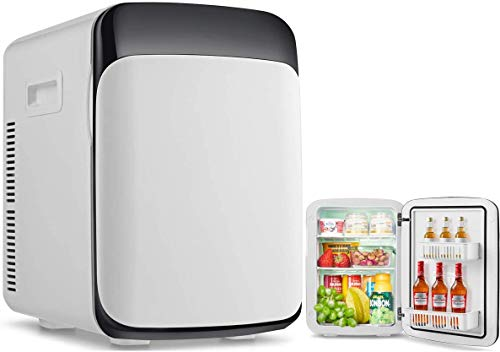 RELAX4LIFE 【Verfügbar!】15L Mini Kühlschrank, elektrischer Kühlschrank mit Kühl- & Heizfunktion, Minibar einstellbare Temperatur -3 °C-50 °C, Getränkekühler tragbar für Auto & Zuhause, 33 x 28 x 39cm