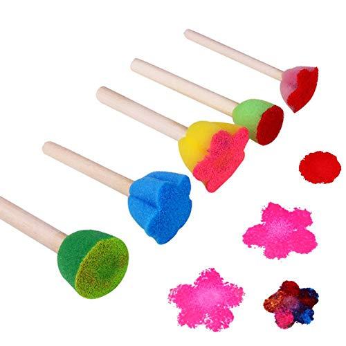 FeiyanfyQ 5 pinceles de madera para pintar con esponja de graffiti herramientas para niños juguetes educativos