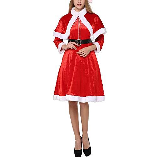 Navidad Lindo Mujeres Santa Claus Vestido Rojo Mujer Otoño Invierno Fiesta Disfraces de Navidad Sexy Santa Claus Envuelve Vestido-SG