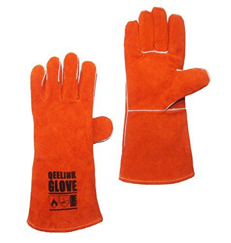 QeeLink Leather Welding Gloves - Heat & Flame Resistant For Welders/Fireplace/BBQ