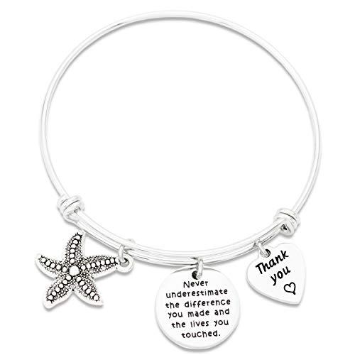Kivosliviz Volunteer Bracelet Gift Appreciation for Social Worker Employee Never Underestimate The Difference You Made Thank You Starfish Bracelet