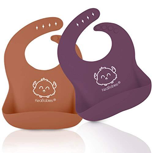 Silikon-Baby-Lätzchen - Wasserdichtes, leicht abwischbares Silikon-Lätzchen für Babys, Kleinkinder - Baby-Fütterungs-Lätzchen mit großer Futtertasche - Reiselätzchen Set (Horizon)