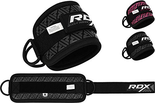 RDX Ankle Strap for Cable Machine – Steel Double D Ring Ankle Cuff Legs Workout – Great for Glute, Butt and Thigh Exercise- Maya Hide Leather Multi Gym Strap Pulley Attachment