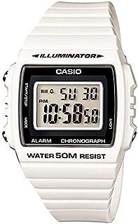 ساعة يد لكلا الجنسين من كاسيو ، رقمي ، مطاطي ، ابيض ، W-215H-7AV