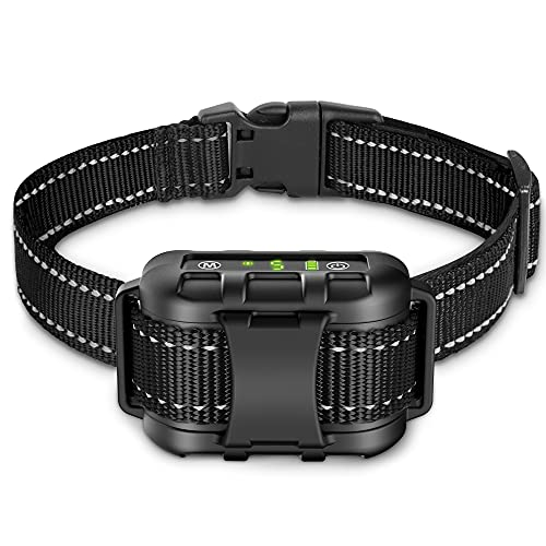 Dog Bark Collar - Rechargeable Shock Collar for Dogs in Medium and Large Sizes, No Barking Collar with 5 Adjustable Sensitivity, Beep, Vibration, Shock Modes, Safe Humane Auto Bark Correction