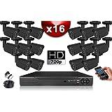 Kit Eco Vidéosurveillance AHD : 16 Caméras Tubes CMOS HD 720P + Enregistreur XVR H265+ 2000 Go/Pack de vidéo Surveillance