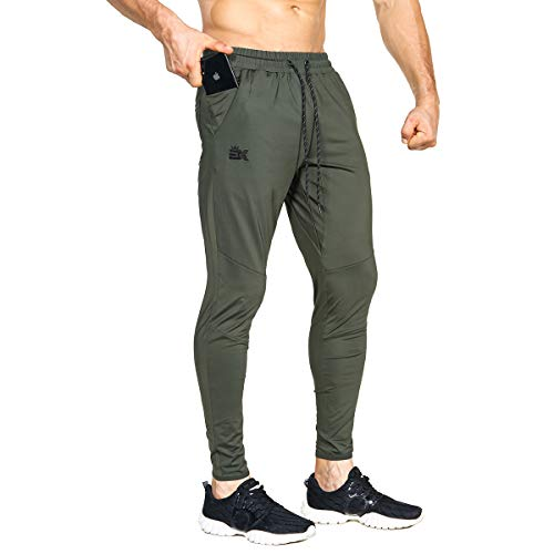 BROKIG Mens Lightweight Gym Jogger Pants,Men's Workout Sweatpants with Zip Pocket(Army Green,Small)
