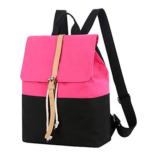 REGEN Casual Ladies Canvas Messenger Backpack Shoulder Bag Ladies Briefcase Ladies Handbag Outdoor Travel Bag Convertible Laptop Backpack Suitable for Tablet Laptop/Pink