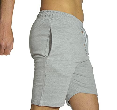 Intimitaly Pantaloncini Uomo Cotone Puro 100% Sport Pantaloni Corti con Tasche Shorts Uomo Cotone Pantalone Corto Estivo Uomo Pantaloni Corti Uomo (L, Grigio French Terry, l)