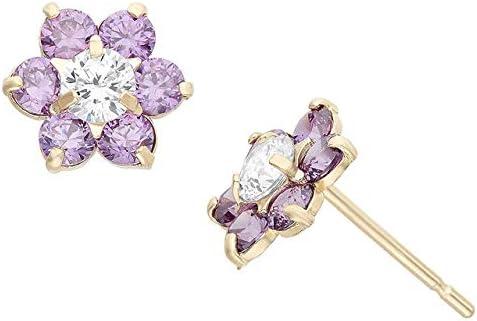 0.60 CT Round Superlatite Created Amethyst Stud 100% quality warranty! 14 Flower Earrings Diamond