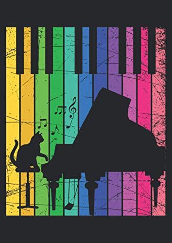 A4 Notizbuch liniert mit Softcover Design: Klavier Flügel musikalische Katze Kätzchen Musik Geschenk: 120 linierte DIN A4 Seiten