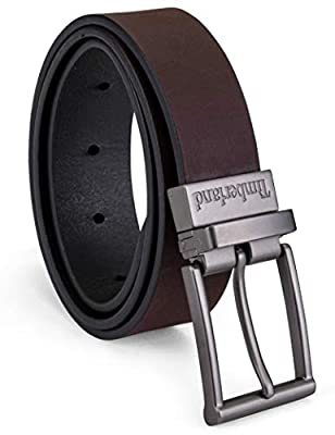 Timberland Boys Reversible Leather Belt for Kids, brown/black, Large