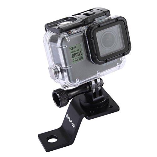Puluz, Motorradzubehör, Spiegel/Halterung, feste Halterung, Metall, Fahrradhalterung für GoPro Hero 5 4 Session, Schwarz-Silber, 4 3 3 2, Sport Action Kamera (Schwarz).