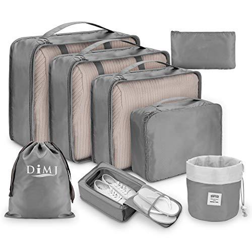 DIMJ - Organizer per valigia, cubici, da viaggio, set di 8, sacchetti per valigia per vestiti, scarpe e cosmetici Grigio Grigio 1