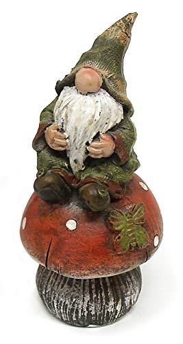 TEMPELWELT Deko Figur Wichtel Zwerg mit Knollnase auf Fliegenpilz aus Polystein grün rot, 12 cm groß, witzige Gartenfigur Gartenzwerg für den Garten