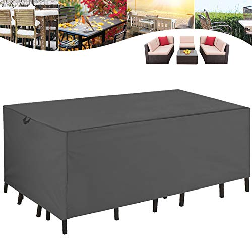 STARTWO Heavy Duty Patio Furniture Cover, 110x84x28 Inch, Waterproof Tear Proof UV Resistant Outdoor Sectional Furniture Covers Garden Table Chairs Sofa Set Cover with Windproof Straps