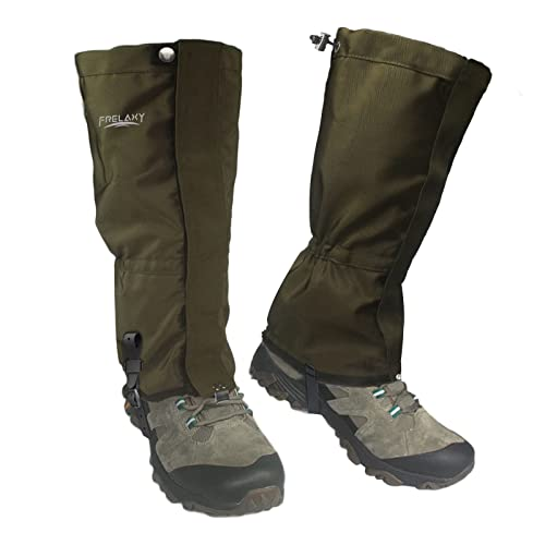 Frelaxy Leg Gaiters【2021 New Version】 100% Waterproof Hiking Gaiters, Hunting Gaiters with Upgraded Rubber Foot Strap, Adjustable Snow Boot Gaiters for Skiing Motorcycle Snowshoeing (Olive Green, XL)