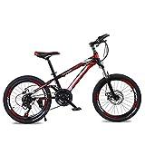 YAOXI Bicicleta De Montaña Bicicleta con Suspensión De Horquilla Engranaje 21 Freno De Disco Sistema De Frenado Marco De Acero Al Carbono Bicicleta para Niños Niño-Niña Bicicleta,Rojo,20Inch