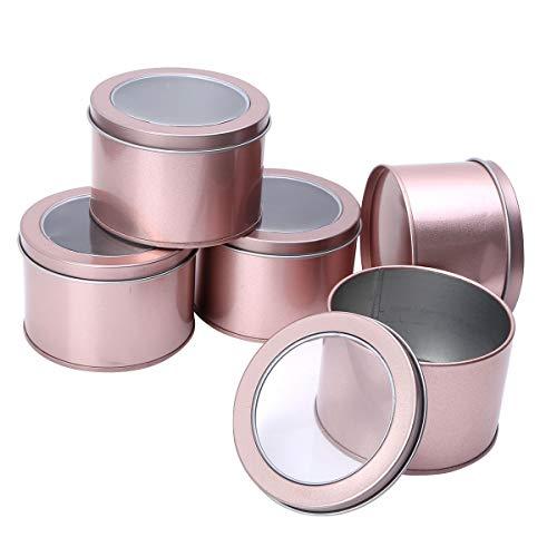 iEFiEL Tarros de Hojalata para Hacer Velas Tarros de Lata Redonda Recipiente de Latas de Metal Vacío Latas de Aluminio con Tapa para Té Caramelo café Azúcar Joyería Oro Rosa One Size