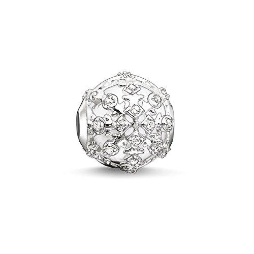Thomas Sabo Damen-Bead Schneeflocke Karma Beads 925 Sterling Silber Zirkonia weiß Achat weiß K0186-625-14