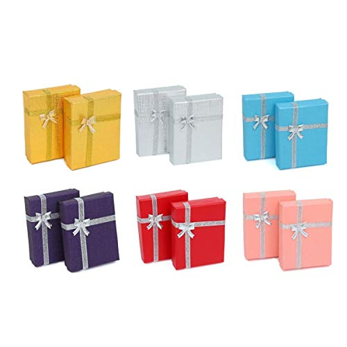 ZADAWERK® Geschenkbox - 9x7x2,5 cm - 6 Farben - 12 Stück - Geburtstag - Kiste