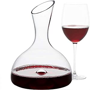 GoodGlassware Wine Decanter – Personal Red Wine Carafe with Wide Base and...