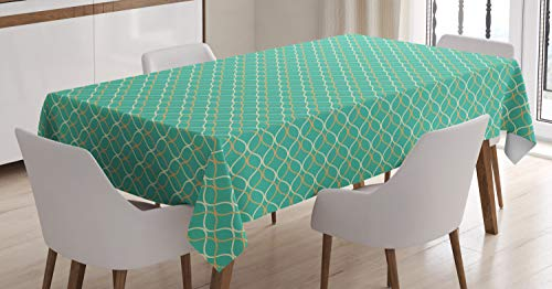 ABAKUHAUS Moderno Mantele, Líneas onduladas horizontales, Estampado con la Última Tecnología Lavable Colores Firmes, 140 x 200 cm, Anaranjado pálido de la Turquesa