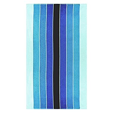 Superior Luxurious 100% Cotton Beach Towels, Oversized 34  x 64 , Soft Velour Cotton and Absorbent Cotton Terry, Thick and Plush Striped Beach Towels - Blue Pacific Ombre Stripes