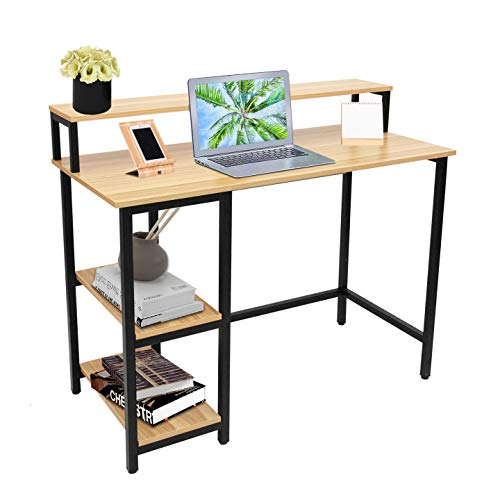 Escritorio de computadora con cajones, espacio de almacenamiento, escritorio para portátil, mesa industrial para trabajo en casa, oficina, pequeño estudio, escritura, madera