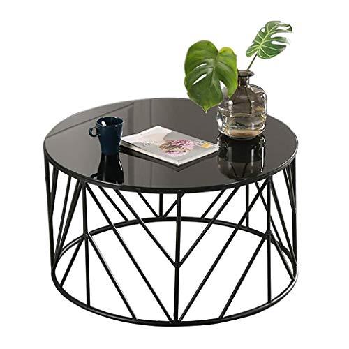 Salón sencilla mesa de café creativa Tablas liso elegante redonda Mesa, vidrio templado superior con estructura de metal, for sala de estar, Apartamento, Negro, 60cm / 80cmx45cm mesa de centro multifu