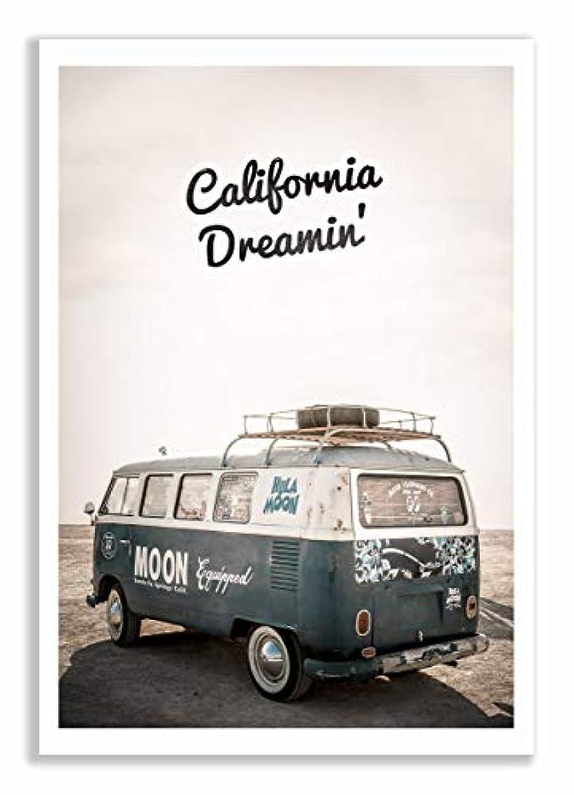 California Dreamin Satin Black Aluminium Frame with Mount, Multicolored, 60x90