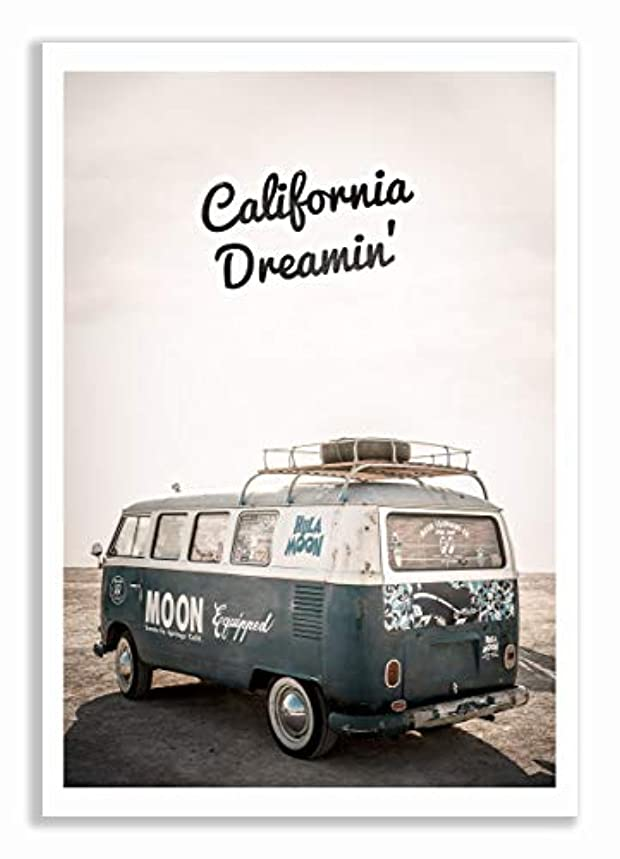 California Dreamin Satin Black Aluminium Frame with Mount, Multicolored, 30x40