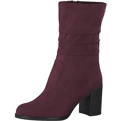 Tamaris Damen Stiefel 25088-31,Frauen Boots,Blockabsatz 7cm,Merlot,EU 39
