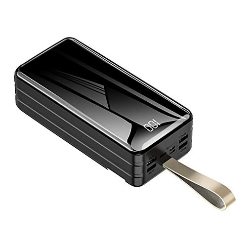 Power Bank 60000Mah Cargador Portátil De Alta Capacidad 4 USB Banco De Batería Externa Carga Rápida con Pantalla Digital LED Y Linterna, para Teléfonos Inteligentes, Tabletas Y Más,Negro