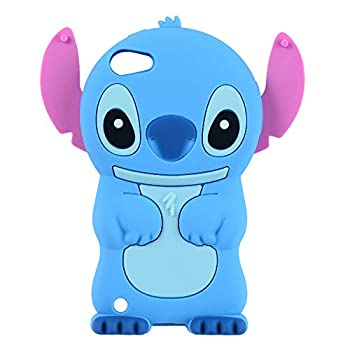 Blue Stitch Case for Apple iPod Touch 6th 5th Generation 3D Cartoon Animal Cute Soft Silicone Rubber Character Cover,Kawaii Animated Funny Cool Skin Cases for Kids Child Teens Guys Girl Touch 6/5th