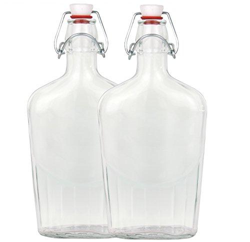 Set bottiglia di vetro Fiaschetta con chiusura a gancio, 0,5litri