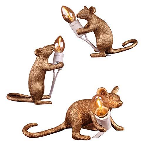 GLYYR Lámpara de Escritorio Luz de Escritorio de Resina con Forma de ratón de 3 Piezas, lámparas de Noche, Base E12, protección para los Ojos, para Dormitorio, Sala de Estar, Oficina, Dorado