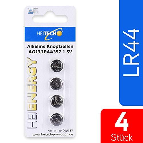 HEITECH 4er Pack AG13 Alkaline Knopfzellen Batterie TÜV geprüft 1,5V - LR44 / L1154 / LR1154 / SR44 / SR44W / V13GA / 157 / 303 / 357 - Knopfbatterien auslaufsicher & mit langer Haltbarkeit