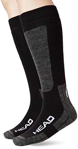 HEAD unisex-adult Kneehigh Ski (2 pack) Skiing Socks, mid grey/black, 35/38 (2er Pack)