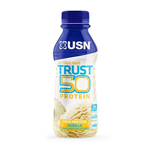 USN Trust 50 Pre-mixed & Ready to Drink Protein Shake Bottles: 6 x 500 ml Vanilla High Protein Recovery Drinks