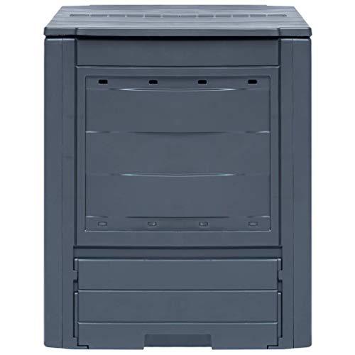 Tidyard Gartenkomposter   Gartenabfallbehälter 260 L   Größe: 60 x 60 x 83 cm (B x T x H)   UV- und witterungsbeständig   Geteilter Deckel für optimale Spülung und Belüftung