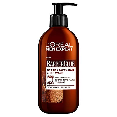 L'Oreal Paris Men Expert, Beard Shampoo, Barber Club 3-in-1 Beard, Hair & Face Wash, 200 ml