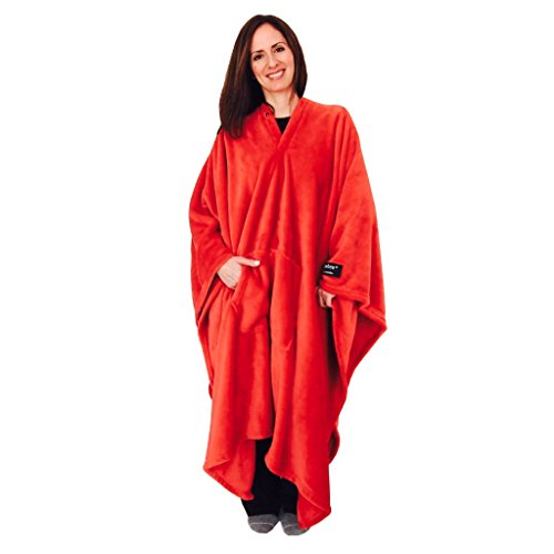 throwbee Original BlanketPoncho RED Yay NO Sleeves Best Wearable Blanket on The Planet Soft Throw Indoors or Outdoors  Adults Men Women Kids