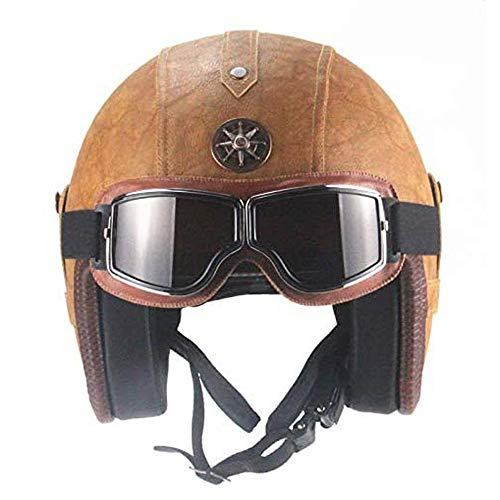ZYW Harley Motorrad-Sturzhelm Erwachsene Retro Brown Leder 4/3 Faceless Halbhelm Punkt Certified Motorrad Helm Cruiser Elektro-Auto-Schutzbrillen und Sonnenblende,Beige,S