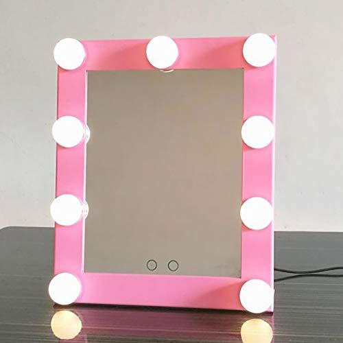 Hollywood Espejo de Maquillaje con Iluminación con Luces LED Brillantes Espejo de Tocador Táctil 2 Modos de Color Batería Enchufable Modos 29 * 25 * 7cm Durable (Color : Pink)
