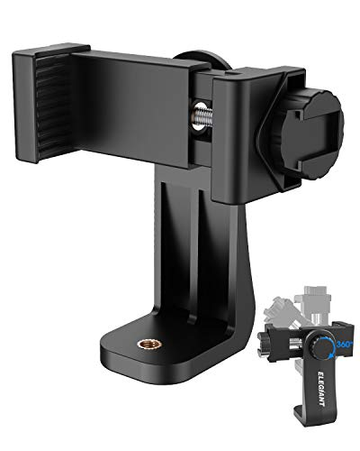 Phone Tripod Mount, ELEGIANT Smartphone Holder Phone Clip Adapter Rotatable Bracket with 1/4 Inch Screw Compatible with iPhone 11 11Pro XS Max XS XR X 8P 7P, Galaxy S20 S10 S9 S8 and Other Phones