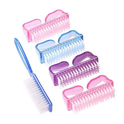 Gospire 4+1 Stück Griff Nagelbürste Nagel Handschrubber Reinigungsbürste Hand Fingernägel Bürstenreiniger Scrubbing Kit für Zehen und Nägel Männer Frauen