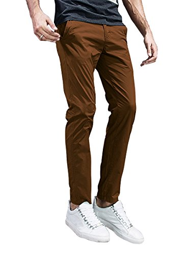 Match Mens Slim-Tapered Flat-Front Casual Pants (38, 8105 Light Brown)
